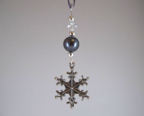 Silver Tone Snowflake, Dark Grey Glass Bead & Crystal - Xmas Tree Decoration